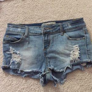 Distressed vintage havana girls jean shorts 14